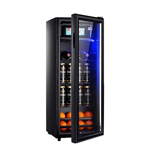 YYDD Réfrigérateur et boissons Cooler – 38 DB, LED, 128L, mini réfrigérateur avec porte en verre for la bière ou du vin Soda, Porte-Rouge Vin indépendant, Cave à vin