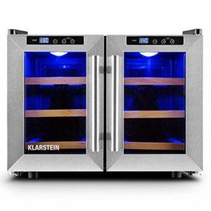 Klarstein Reserva Saloon Modern Line • Cave à vins réfrigérée • Capacité de 40 litres • 12 bouteilles • Deux portes • 3 étagères amovibles en bois • Eclairage LED • Argent