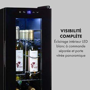 Klarstein Shiraz 12 Slim – Cave à vin, Compacte, Commande pratique, Eclairage intérieur LED, 5 et 18 °C, Capacité de32 litres, Jusqu'à 12 bouteilles de vin, 3 étagères amovibles, 85 watts, Noir