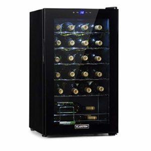 Klarstein Shiraz Uno – cave à vin, températures: 5-18 °C, classe d'efficacité énergétique B, 42 dB, panneau de commande soft-touch, 4 clayettes, capacité 24 bouteilles de vin, volume: 67 l, noir