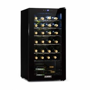 Klarstein Shiraz Uno – cave à vin, températures: 5-18 °C, classe d'efficacité énergétique B, 42 dB, panneau de commande soft-touch, 4 clayettes, capacité 28 bouteilles de vin, volume: 74 l, noir