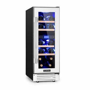 KLARSTEIN Vinovilla 17 – Cave à vin réfrigérée, Porte en verre, Eclairage intérieur, 30 cm de large, Ecran LCD, Panneau de commande tactile, 17 bouteilles, 53 litres, 4 clayettes – Argent