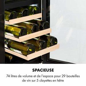 KLARSTEIN Vinovilla – cave à vin Built-In Duo, intégrée, 2 zones, 29 bouteilles / 74 l, haut: 5-12 ° C/bas: 12-20 ° C, porte vitrée, éclairage intérieur 3 couleurs, EEK B, acier inoxydable