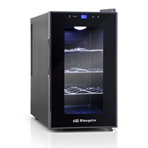Orbegozo VT 810 – Cave à vin 8 bouteilles, 70 W, 25 l, LED, affichage numérique, panneau de commande tactile, 3 étagères chromées amovibles