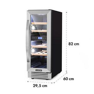 Klarstein Vinovilla Duo17 – Cave à vin, Réfrigérateur à boissons, Volume: 53 L, 4 étagères en bois, Éclairage intérieur à LED en 3 couleurs sélectionnables, 2 zones de refroidissement, noir