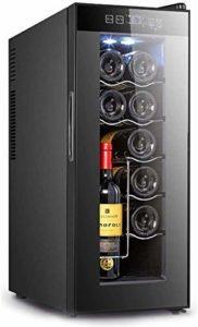 Réfrigérateur refroidisseur de vin Vin rouge Thermostat Thermostat Cave à vin vin Cabinet Accueil Petite Ice Bar Bureau Porte simple réfrigérateur conservation des aliments (Couleur: Noir, Taille: 25